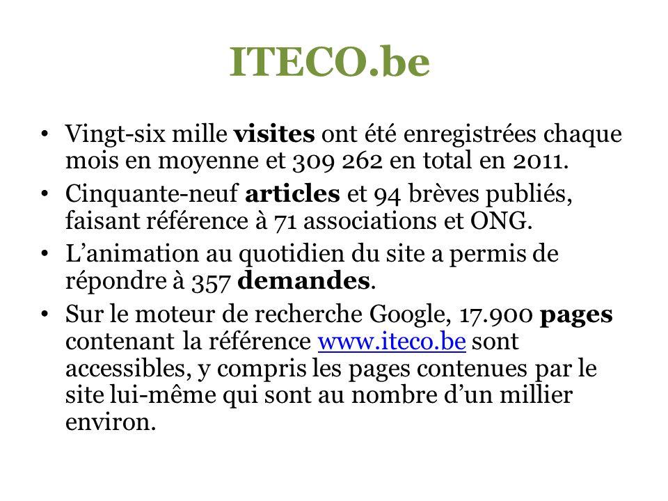 ITECO.be Vingt-six mille visites ont été enregistrées chaque mois en moyenne et 309 262 en total en 2011.