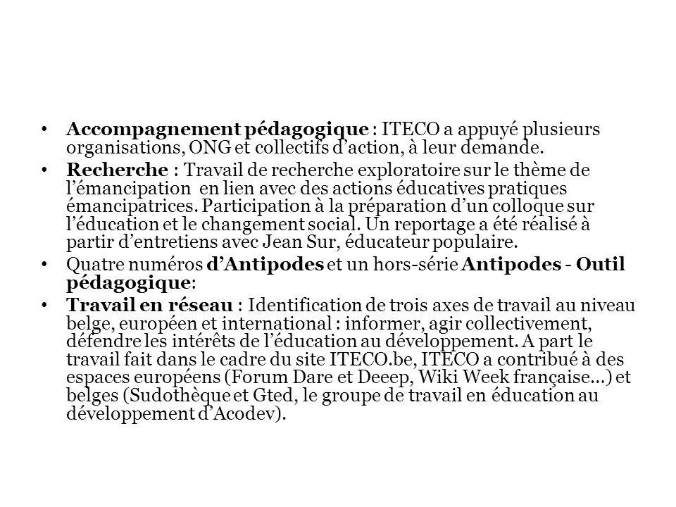 Accompagnement pédagogique : ITECO a appuyé plusieurs organisations, ONG et collectifs daction, à leur demande.