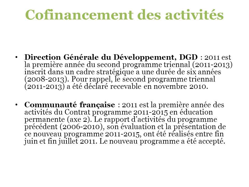 Cofinancement des activités Direction Générale du Développement, DGD : 2011 est la première année du second programme triennal (2011-2013) inscrit dans un cadre stratégique a une durée de six années (2008-2013).