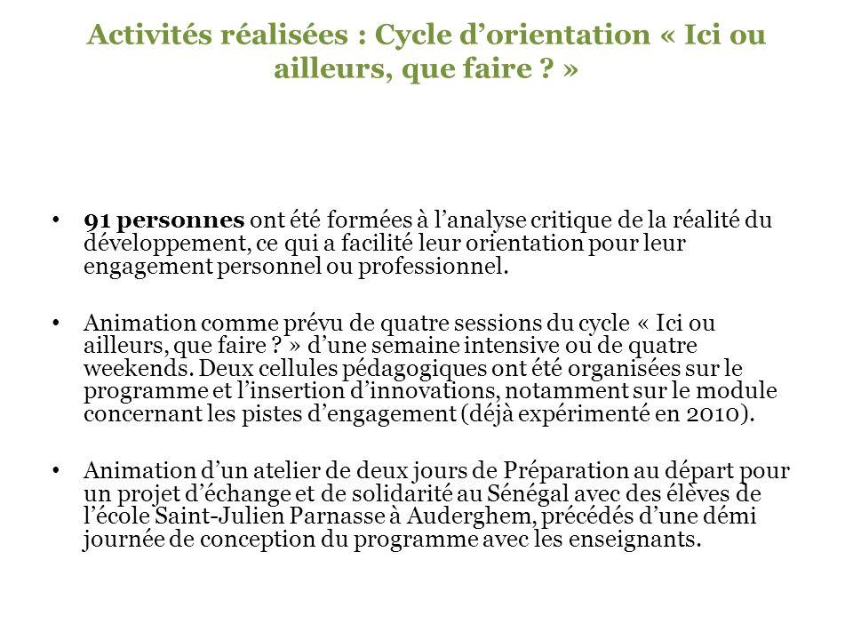 Activités réalisées : Cycle dorientation « Ici ou ailleurs, que faire .