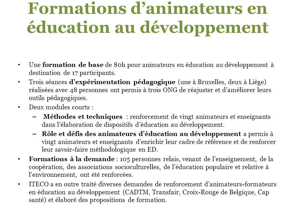 Formations danimateurs en éducation au développement Une formation de base de 80h pour animateurs en éducation au développement à destination de 17 participants.