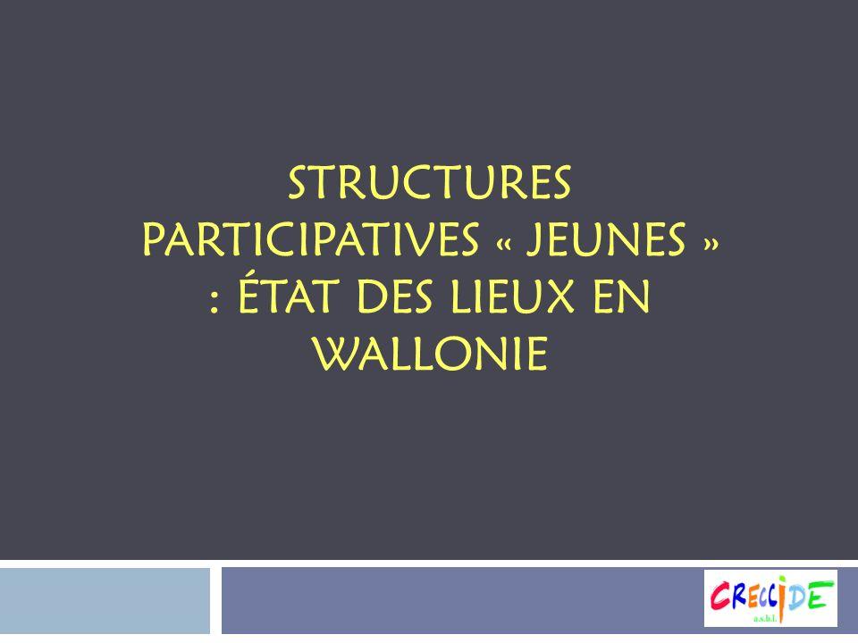 STRUCTURES PARTICIPATIVES « JEUNES » : ÉTAT DES LIEUX EN WALLONIE