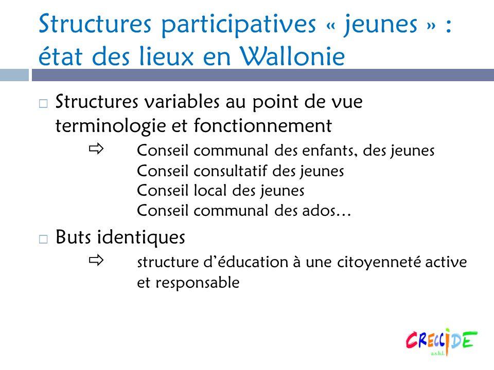 Structures participatives « jeunes » : état des lieux en Wallonie Structures variables au point de vue terminologie et fonctionnement Conseil communal
