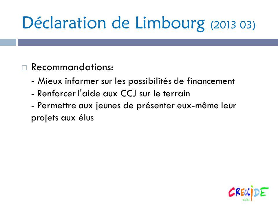 Déclaration de Limbourg (2013 03) Recommandations: - Mieux informer sur les possibilités de financement - Renforcer l aide aux CCJ sur le terrain - Permettre aux jeunes de présenter eux-même leur projets aux élus