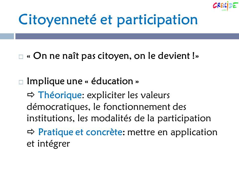 Citoyenneté et participation « On ne naît pas citoyen, on le devient !» Implique une « éducation » Théorique: expliciter les valeurs démocratiques, le