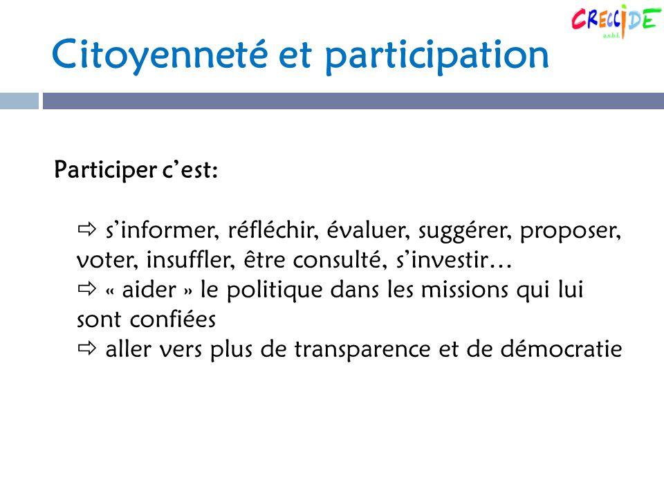 Citoyenneté et participation Participer cest: sinformer, réfléchir, évaluer, suggérer, proposer, voter, insuffler, être consulté, sinvestir… « aider » le politique dans les missions qui lui sont confiées aller vers plus de transparence et de démocratie