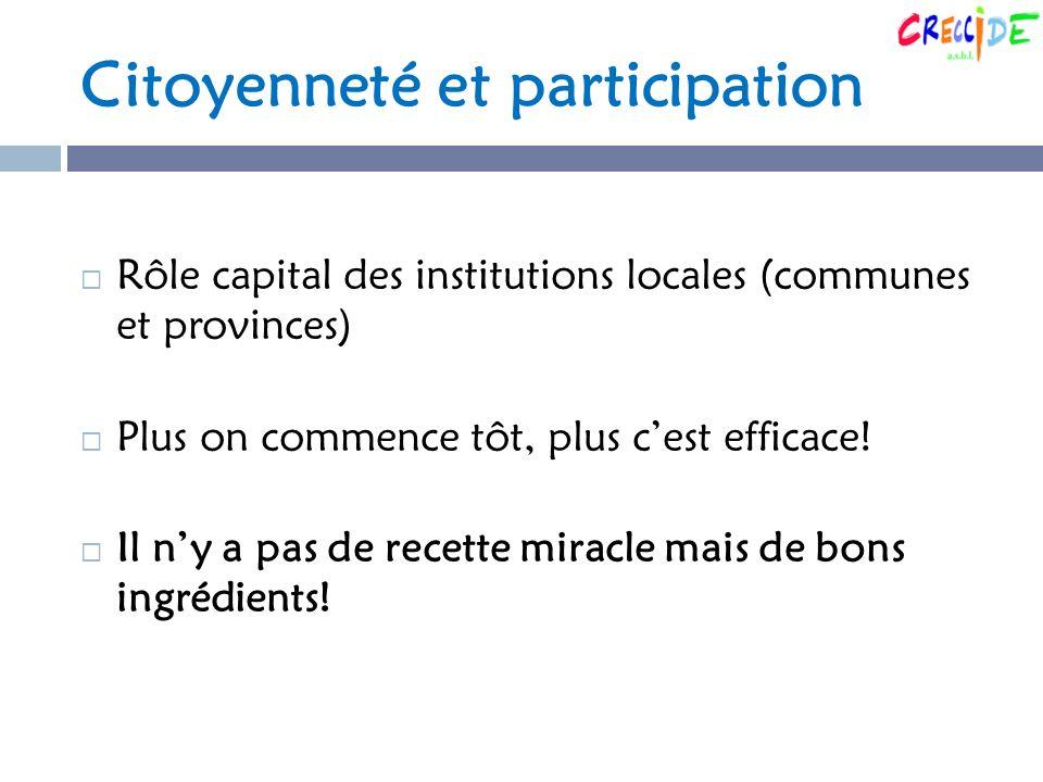 Citoyenneté et participation Rôle capital des institutions locales (communes et provinces) Plus on commence tôt, plus cest efficace.