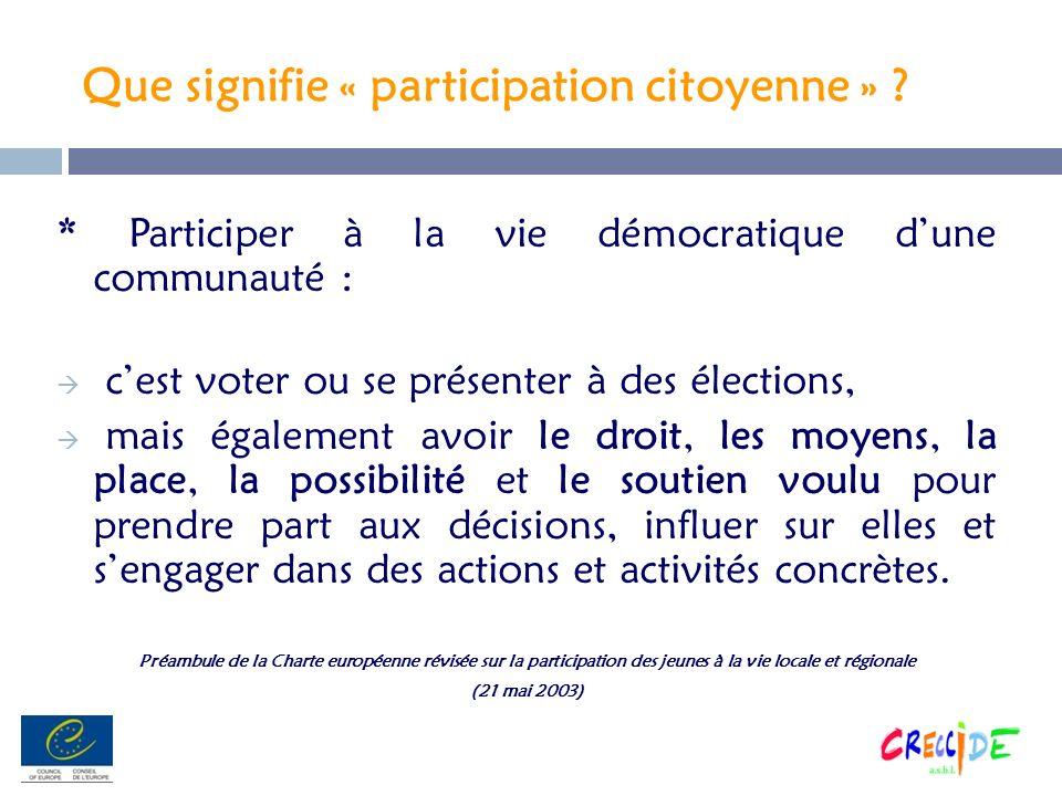 Que signifie « participation citoyenne » ? * Participer à la vie démocratique dune communauté : cest voter ou se présenter à des élections, mais égale