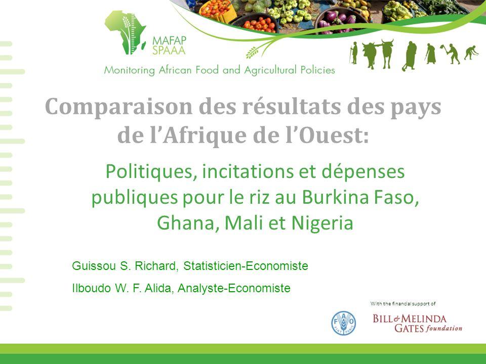 With the financial support of Comparaison des résultats des pays de lAfrique de lOuest: Politiques, incitations et dépenses publiques pour le riz au B