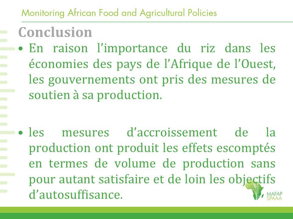 Conclusion En raison limportance du riz dans les économies des pays de lAfrique de lOuest, les gouvernements ont pris des mesures de soutien à sa prod