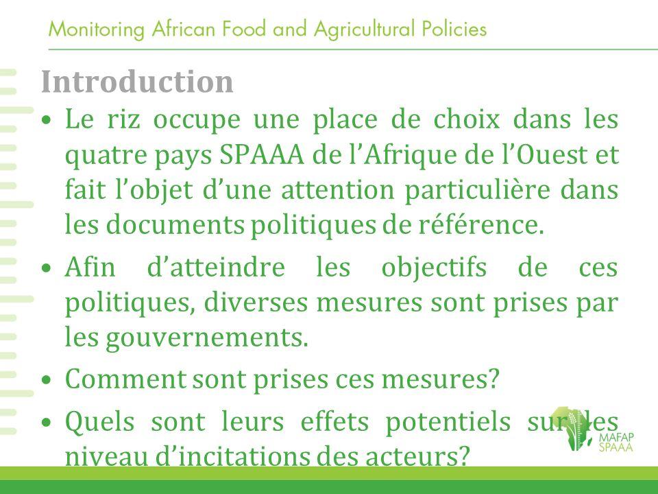 Introduction Le riz occupe une place de choix dans les quatre pays SPAAA de lAfrique de lOuest et fait lobjet dune attention particulière dans les doc
