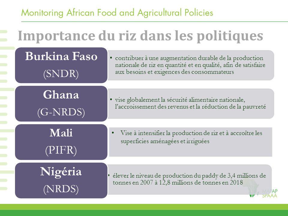 Importance du riz dans les politiques contribuer à une augmentation durable de la production nationale de riz en quantité et en qualité, afin de satis