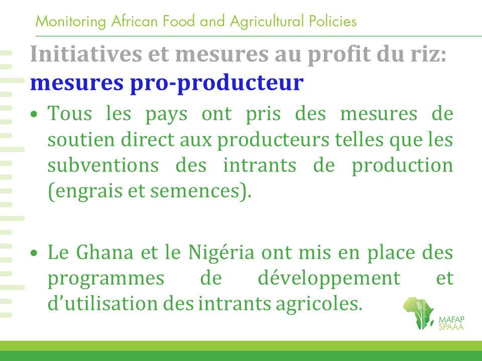 Initiatives et mesures au profit du riz: mesures pro-producteur Tous les pays ont pris des mesures de soutien direct aux producteurs telles que les su