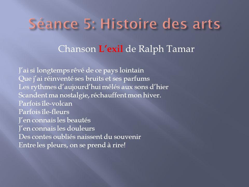 Chanson Lexil de Ralph Tamar Jai si longtemps rêvé de ce pays lointain Que jai réinventé ses bruits et ses parfums Les rythmes daujourdhui mêlés aux s