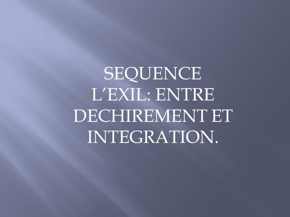 SEQUENCE LEXIL: ENTRE DECHIREMENT ET INTEGRATION.