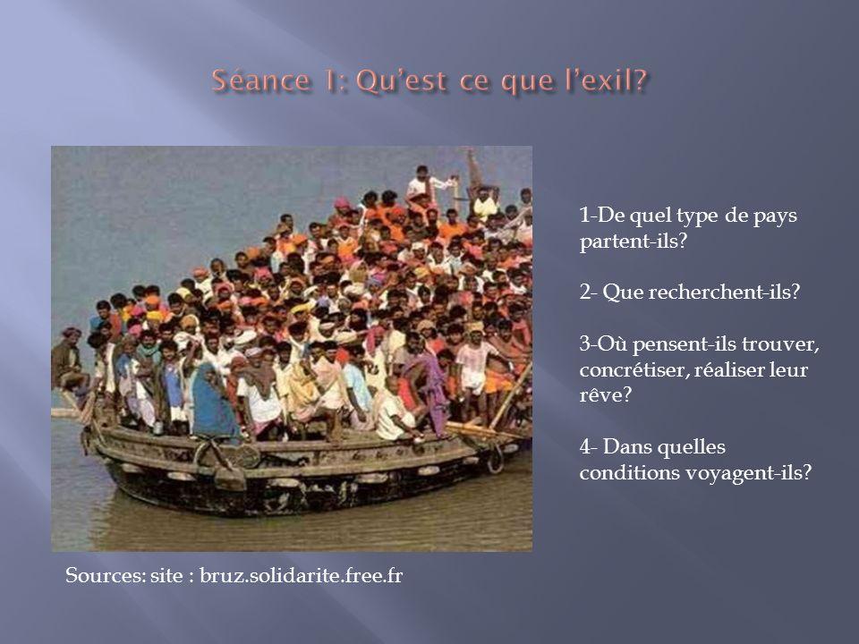 1-De quel type de pays partent-ils? 2- Que recherchent-ils? 3-Où pensent-ils trouver, concrétiser, réaliser leur rêve? 4- Dans quelles conditions voya