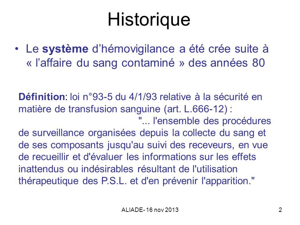 ALIADE- 16 nov 20132 Historique Le système dhémovigilance a été crée suite à « laffaire du sang contaminé » des années 80 Définition: loi n°93-5 du 4/
