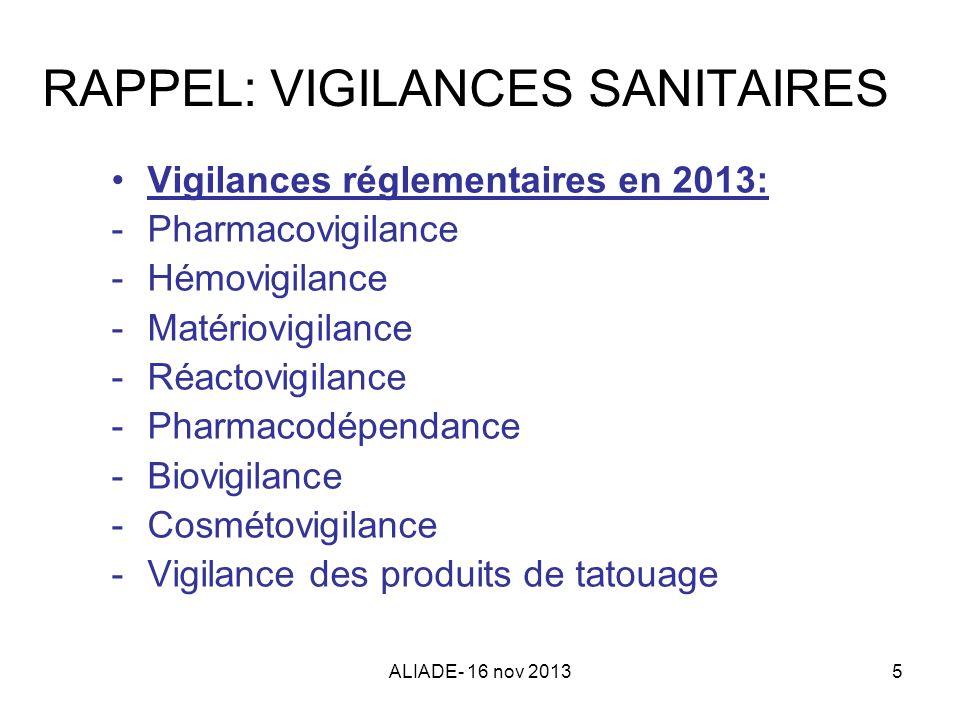 ALIADE- 16 nov 20135 RAPPEL: VIGILANCES SANITAIRES Vigilances réglementaires en 2013: -Pharmacovigilance -Hémovigilance -Matériovigilance -Réactovigil