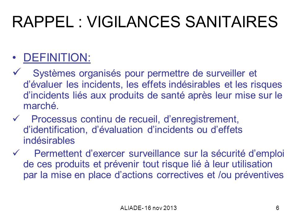 ALIADE- 16 nov 20136 RAPPEL : VIGILANCES SANITAIRES DEFINITION: Systèmes organisés pour permettre de surveiller et dévaluer les incidents, les effets