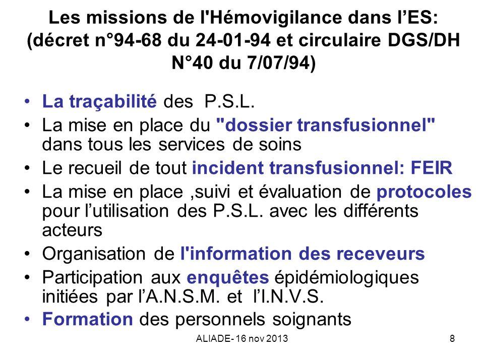 ALIADE- 16 nov 20138 Les missions de l'Hémovigilance dans lES: (décret n°94-68 du 24-01-94 et circulaire DGS/DH N°40 du 7/07/94) La traçabilité des P.