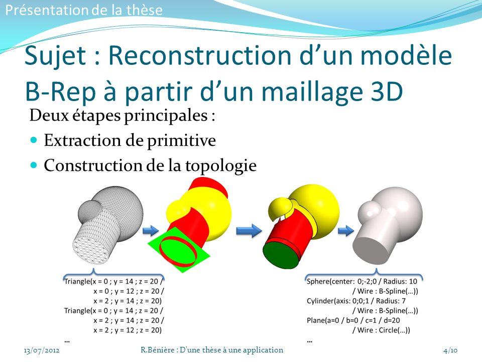 Sujet : Reconstruction dun modèle B-Rep à partir dun maillage 3D Deux étapes principales : Extraction de primitive Construction de la topologie 13/07/