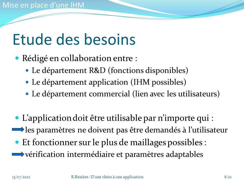 Etude des besoins Rédigé en collaboration entre : Le département R&D (fonctions disponibles) Le département application (IHM possibles) Le département