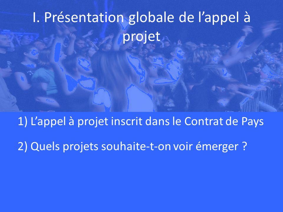 I. Présentation globale de lappel à projet 1) Lappel à projet inscrit dans le Contrat de Pays 2) Quels projets souhaite-t-on voir émerger ?
