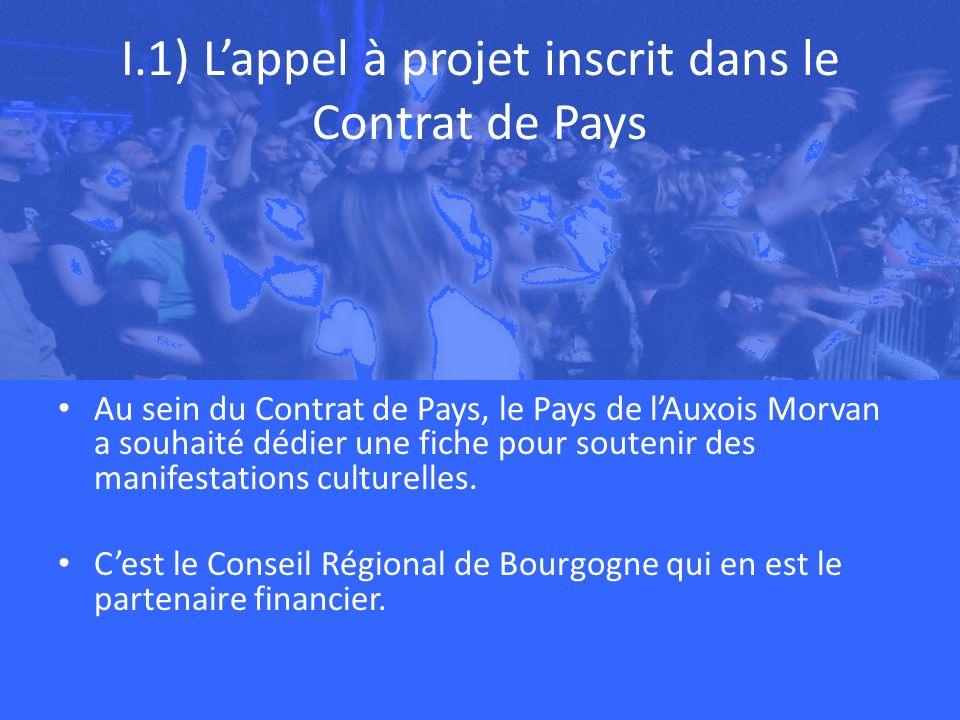 I.1) Lappel à projet inscrit dans le Contrat de Pays Au sein du Contrat de Pays, le Pays de lAuxois Morvan a souhaité dédier une fiche pour soutenir des manifestations culturelles.