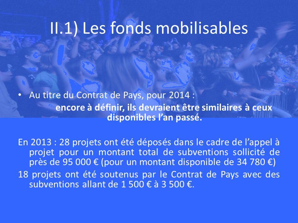 II.1) Les fonds mobilisables Au titre du Contrat de Pays, pour 2014 : encore à définir, ils devraient être similaires à ceux disponibles lan passé.