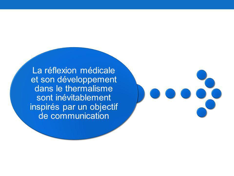 La réflexion médicale et son développement dans le thermalisme sont inévitablement inspirés par un objectif de communication