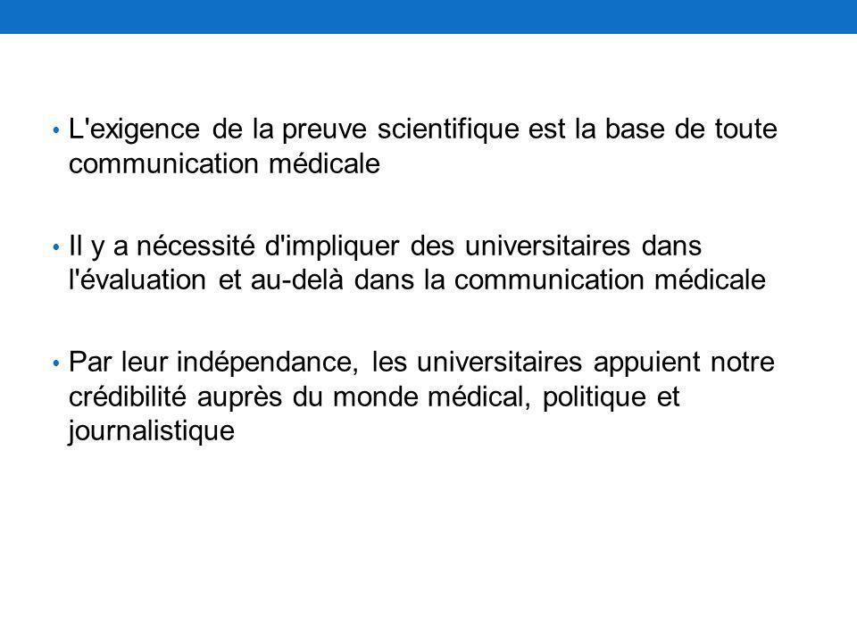 L'exigence de la preuve scientifique est la base de toute communication médicale Il y a nécessité d'impliquer des universitaires dans l'évaluation et
