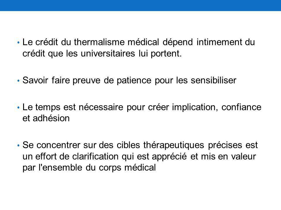 Le crédit du thermalisme médical dépend intimement du crédit que les universitaires lui portent. Savoir faire preuve de patience pour les sensibiliser