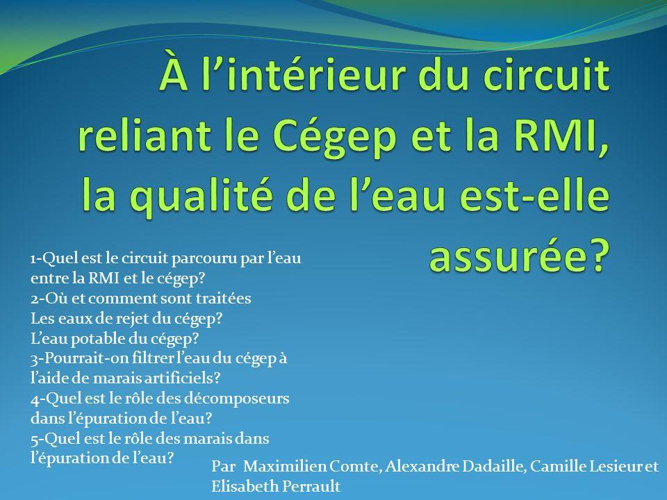 Par Maximilien Comte, Alexandre Dadaille, Camille Lesieur et Elisabeth Perrault 1-Quel est le circuit parcouru par leau entre la RMI et le cégep? 2-Où