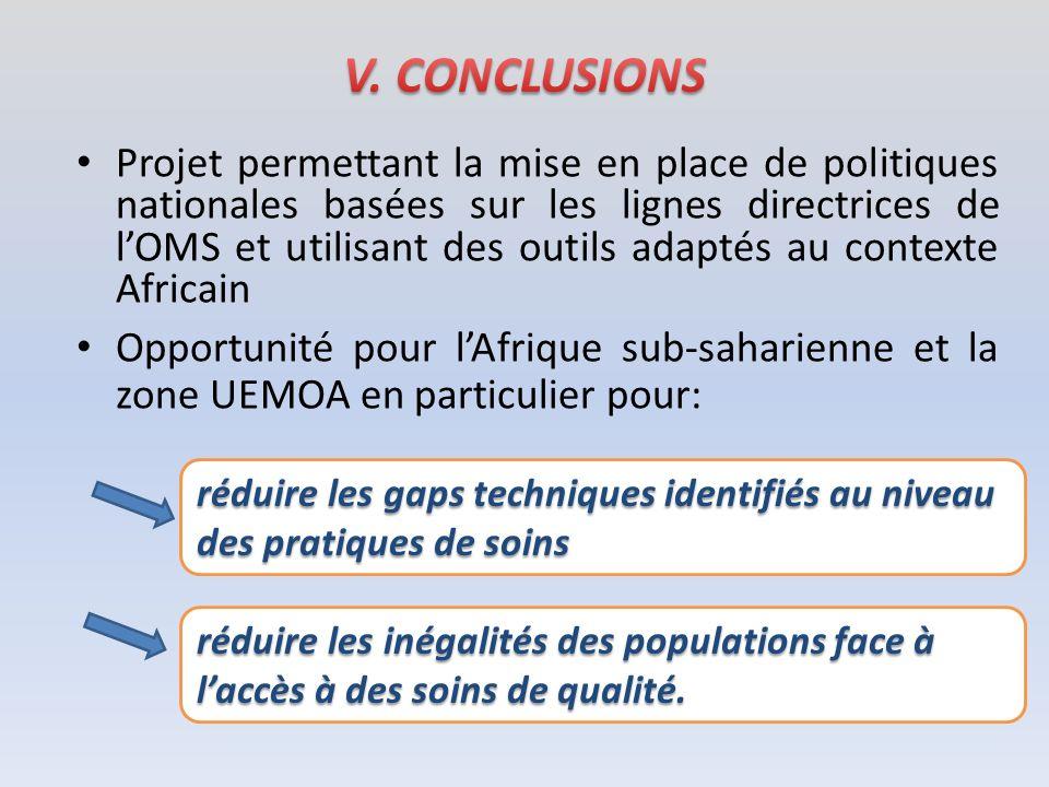 Projet permettant la mise en place de politiques nationales basées sur les lignes directrices de lOMS et utilisant des outils adaptés au contexte Afri