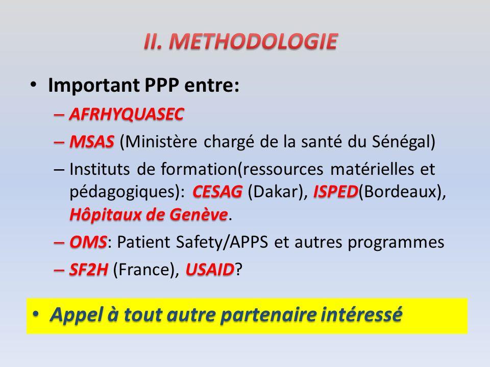 Important PPP entre: – AFRHYQUASEC – MSAS – MSAS (Ministère chargé de la santé du Sénégal) CESAGISPED Hôpitaux de Genève – Instituts de formation(ress