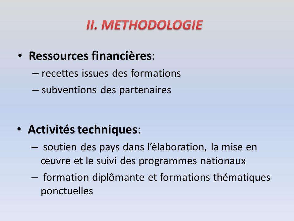 Ressources financières: – recettes issues des formations – subventions des partenaires Activités techniques: – soutien des pays dans lélaboration, la