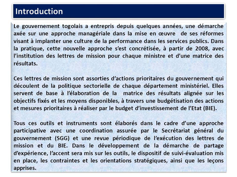Le gouvernement togolais a entrepris depuis quelques années, une démarche axée sur une approche managériale dans la mise en œuvre de ses réformes visant à implanter une culture de la performance dans les services publics.