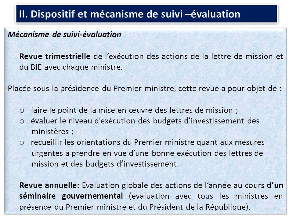 Mécanisme de suivi-évaluation Revue trimestrielle de lexécution des actions de la lettre de mission et du BIE avec chaque ministre.