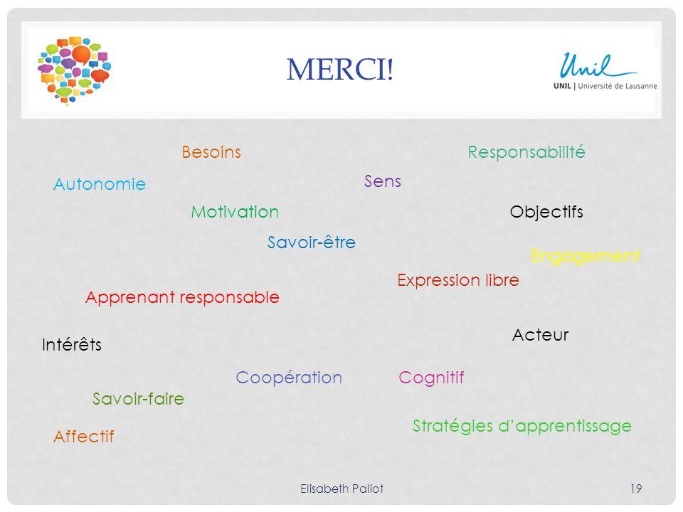 MERCI! Elisabeth Paliot19 Autonomie Motivation Apprenant responsable Sens Expression libre Coopération Objectifs Cognitif Affectif Acteur Stratégies d