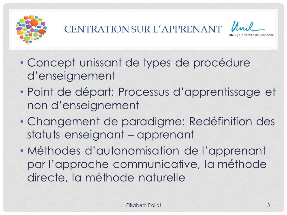 CENTRATION SUR LAPPRENANT Concept unissant de types de procédure denseignement Point de départ: Processus dapprentissage et non denseignement Changeme