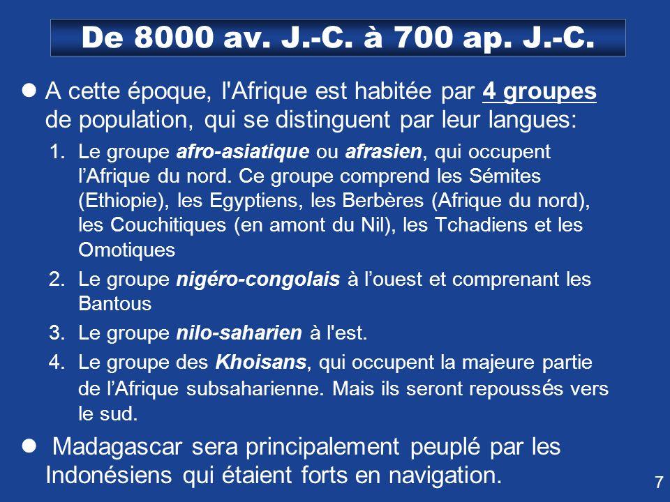 7 De 8000 av. J.-C. à 700 ap. J.-C. A cette époque, l'Afrique est habitée par 4 groupes de population, qui se distinguent par leur langues: 1.Le group