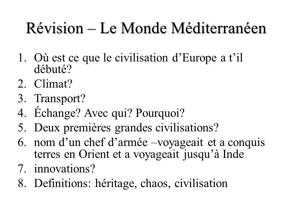 Révision – Le Monde Méditerranéen 1.Où est ce que le civilisation dEurope a til débuté? 2.Climat? 3.Transport? 4.Échange? Avec qui? Pourquoi? 5.Deux p