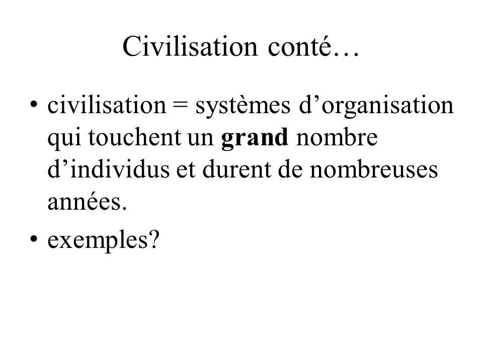 Civilisation conté… civilisation = systèmes dorganisation qui touchent un grand nombre dindividus et durent de nombreuses années. exemples?