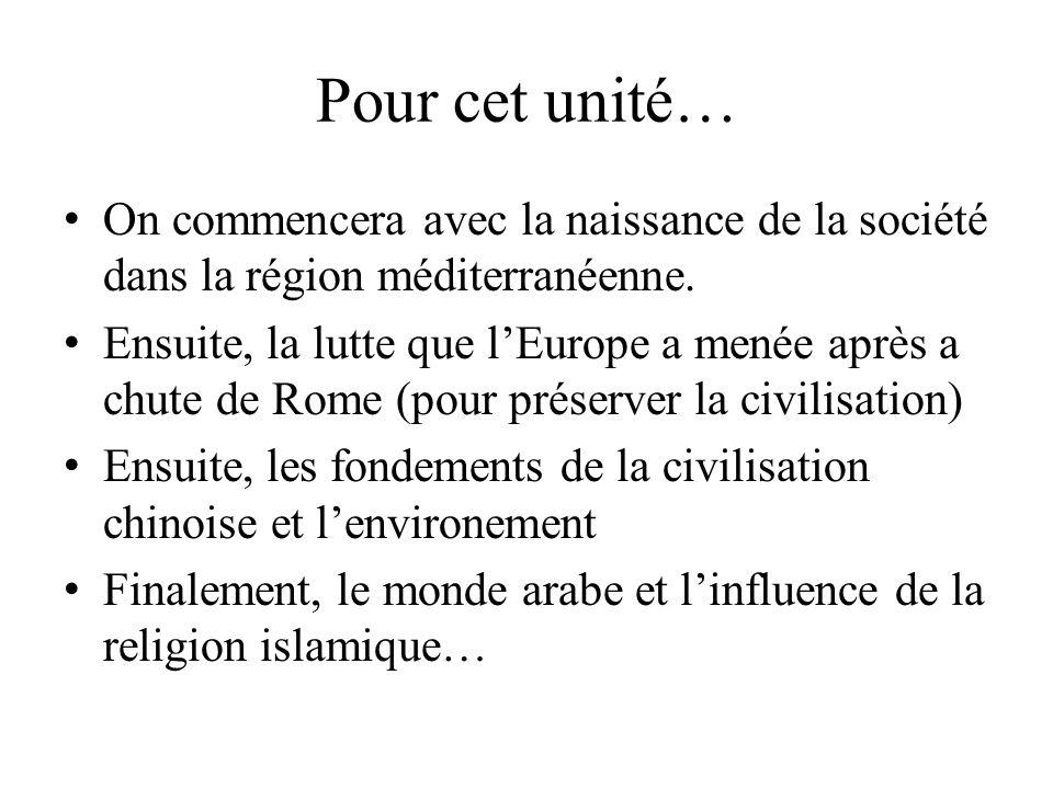 Pour cet unité… On commencera avec la naissance de la société dans la région méditerranéenne. Ensuite, la lutte que lEurope a menée après a chute de R