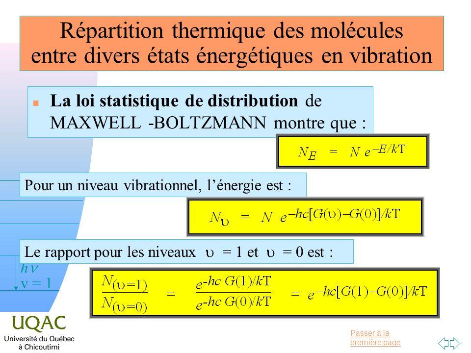 Passer à la première page v = 0 v = 1 v = 2 h Répartition thermique des molécules entre divers états énergétiques en vibration n La loi statistique de distribution de MAXWELL -BOLTZMANN montre que : Pour un niveau vibrationnel, lénergie est : Le rapport pour les niveaux = 1 et = 0 est :