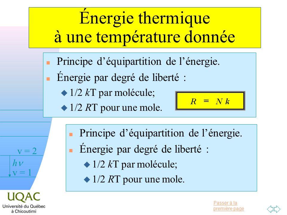 Passer à la première page v = 0 v = 1 v = 2 h Énergie thermique à une température donnée n Principe déquipartition de lénergie.