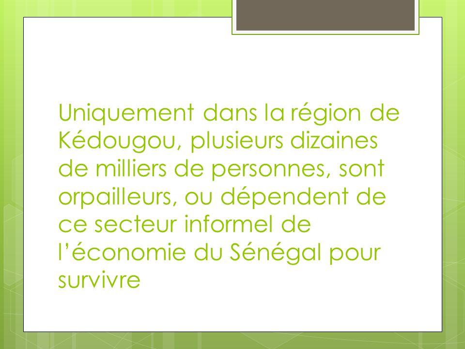 Uniquement dans la région de Kédougou, plusieurs dizaines de milliers de personnes, sont orpailleurs, ou dépendent de ce secteur informel de léconomie
