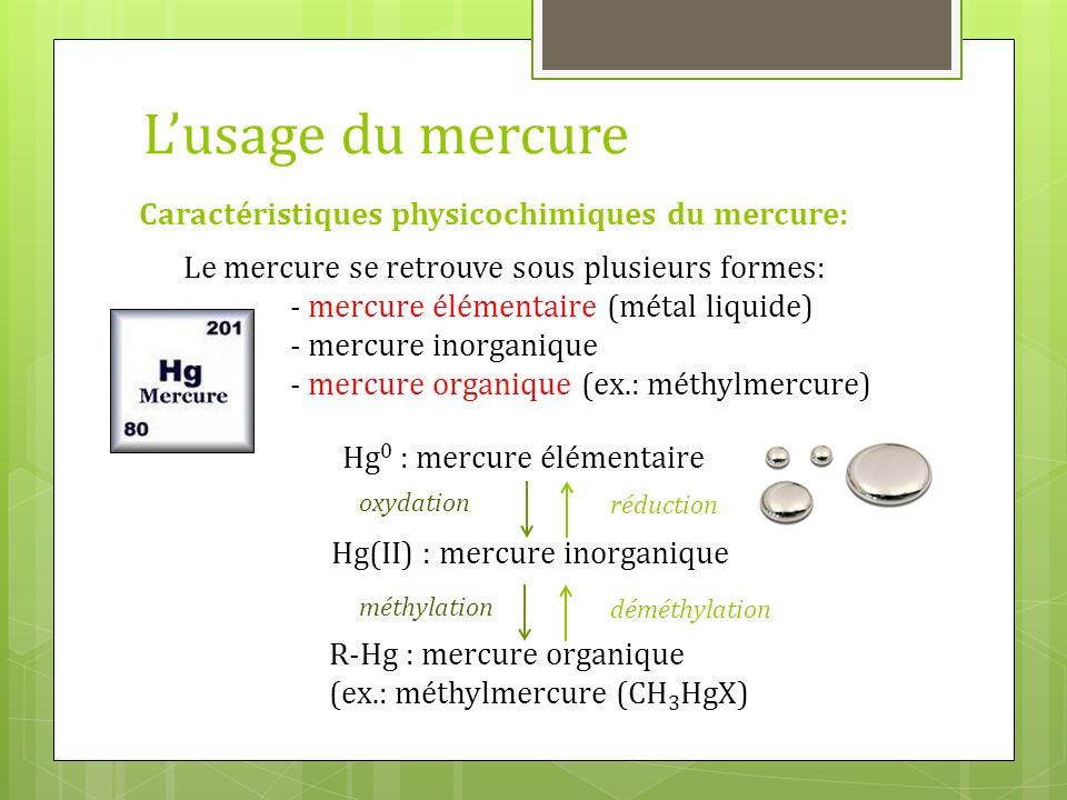 Le mercure se retrouve sous plusieurs formes: - mercure élémentaire (métal liquide) - mercure inorganique - mercure organique (ex.: méthylmercure) Car
