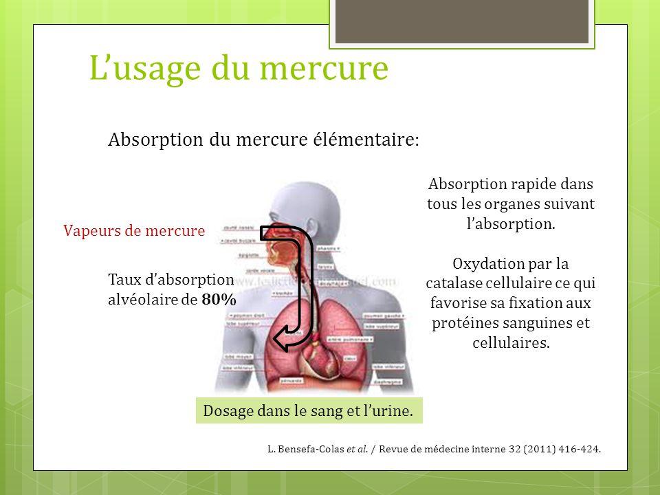 Lusage du mercure Absorption du mercure élémentaire: Vapeurs de mercure Taux dabsorption alvéolaire de 80% Absorption rapide dans tous les organes sui