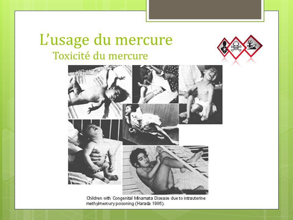 Toxicité du mercure Lusage du mercure 20 g/g
